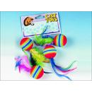 Hračka FLAMINGO míčky s pérky duhové 4ks