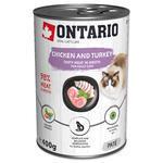 ONTARIO konzerva Chicken, Turkey, Salmon Oil 400g