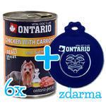 6 x ONTARIO konzerva Chicken, Carrots, Salmon Oil 400g + univerzální víčko zdarma