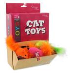 Hračky MAGIC CAT myška bavlněná s catnipem a pírky 6 cm 24ks