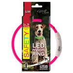 Obojek DOG FANTASY LED nylonový růžový  S/M