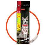 Obojek DOG FANTASY LED nylonový oranžový  M/L