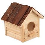 Domek SMALL ANIMALS Budka s kůrou dřevěný 12 x 12 x 13,5 cm 1ks