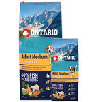 ONTARIO Adult Medium Fish & Rice 12kg + 2,25kg ZDARMA + doprava ZDARMA