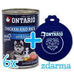 6 x ONTARIO konzerva Puppy Chicken, Rice and Linseed Oil 400g + univerzální víčko zdarma