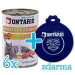 6 x ONTARIO konzerva Chicken, Rabbit, Salmon Oil 400g + univerzální víčko zdarma