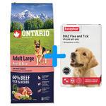 ONTARIO Adult Large Beef & Rice 12kg + antiparazitní obojek Beaphar ZDARMA