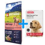 ONTARIO Adult Large Lamb & Rice & Turkey 12kg + antiparazitní obojek Beaphar ZDARMA