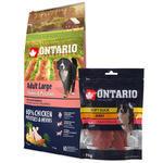 ONTARIO Adult Large Chicken & Potatoes & Herbs 12kg + ONTARIO Snack Soft Chicken Jerky 70g ZDARMA + doprava ZDARMA