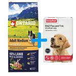 ONTARIO Adult Medium Lamb & Rice 12kg + antiparazitní obojek Beaphar ZDARMA
