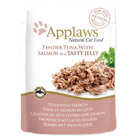 Kapsička APPLAWS cat pouch tuna wholemeat with salmon in jelly  70 g