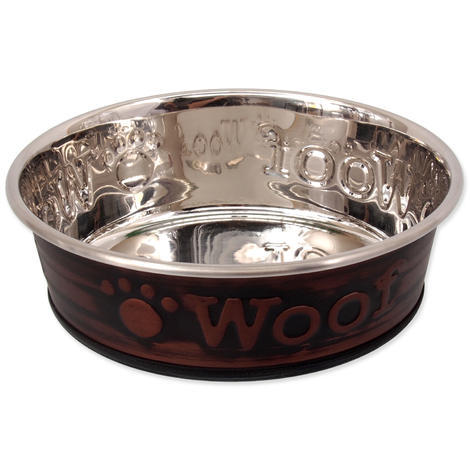 Miska DOG FANTASY nerezová tepaná kulatá Woof L 900ml