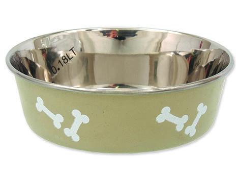 Miska DOG FANTASY nerezová s gumovým spodkem béžová - kost 0,18l