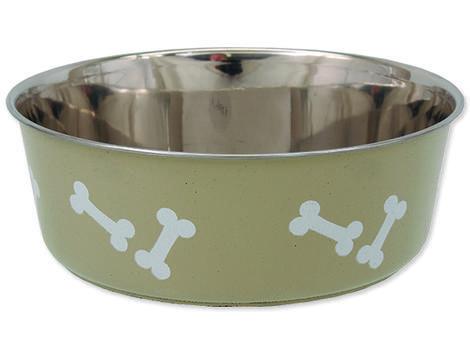 Miska DOG FANTASY nerezová s gumovým spodkem béžová - kost 1,75l
