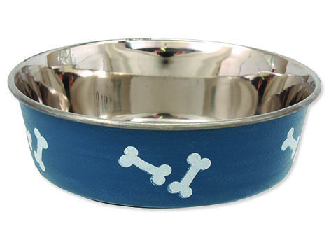 Miska DOG FANTASY nerezová s gumovým spodkem modrá - kost 0,18l