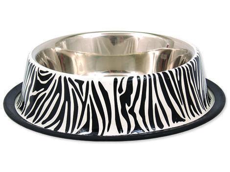 Miska DOG FANTASY nerezová s gumou zebra 0,45l