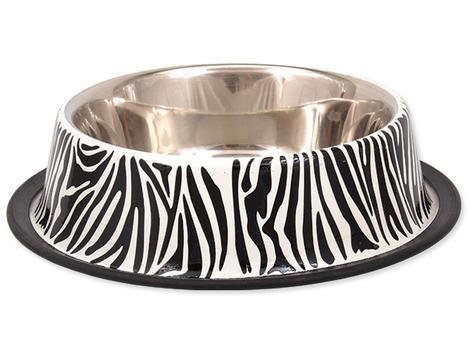 Miska DOG FANTASY nerezová s gumou zebra 0,7l