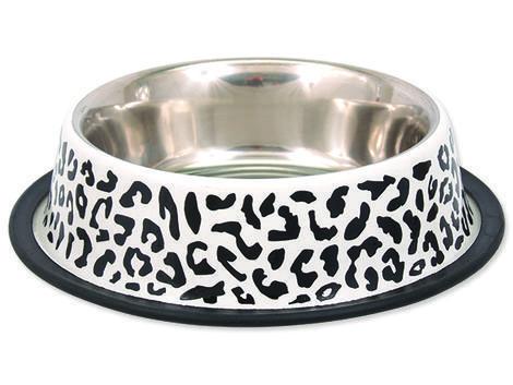 Miska DOG FANTASY nerezová s gumou leopard 0,45l