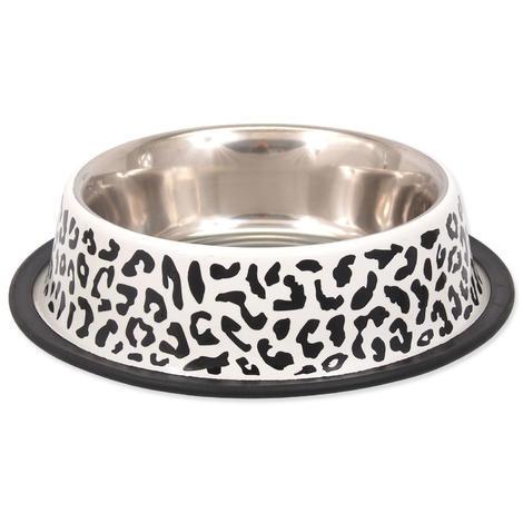 Miska DOG FANTASY nerezová s gumou leopard 0,9l
