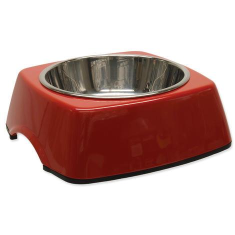 Miska DOG FANTASY nerezová čtvercová červená M 0,35l