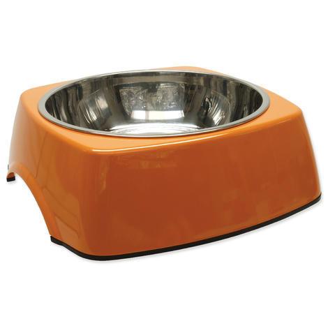 Miska DOG FANTASY nerezová čtvercová oranžová XL 1,4l