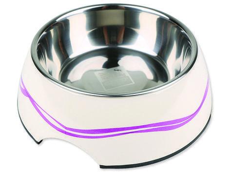 Miska DOG FANTASY nerezová kulatá purpurové vlnky 17,5 cm 350ml