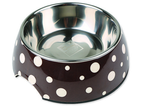 Miska DOG FANTASY nerezová kulatá hnědá + bílé puntíky 17,5 cm 350ml