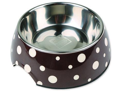 Miska DOG FANTASY nerezová kulatá hnědá + bílé puntíky 22 cm 700ml