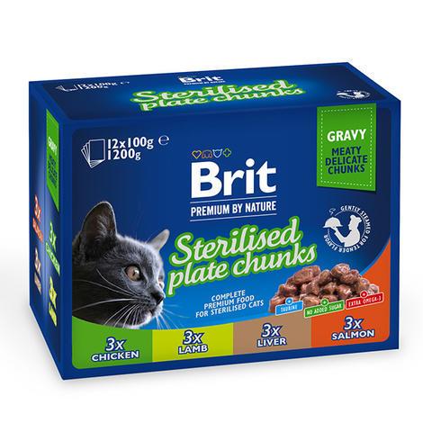 Brit Premium Cat Pouches Sterilised Plate (12x100g) 1200g