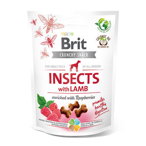 Brit Care Dog Crunchy Cracker. Insects with Lamb enriched with Raspberries, 200 g