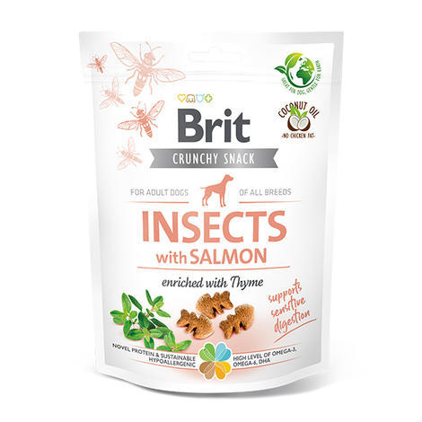 Brit Care Dog Crunchy Cracker. Insects with Salmon enriched with Thyme, 200 g