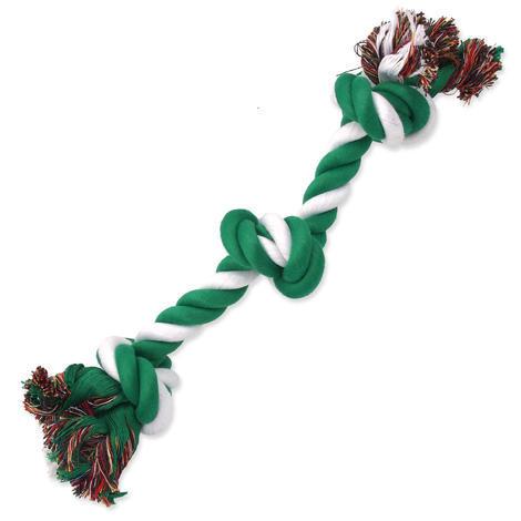 Uzel DOG FANTASY bavlněný zeleno-bílý 3 knoty  40 cm