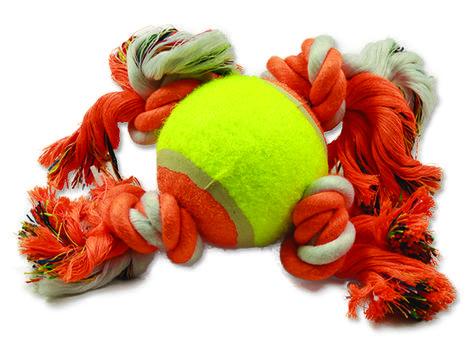Hračka DOG FANTASY oranžovo-bílá 4 knoty + tenisákpsy, podporující dentální hygienu