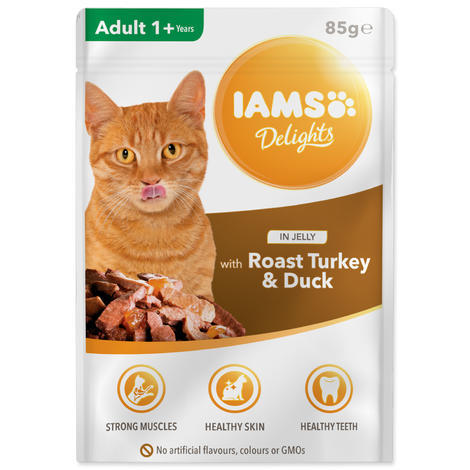 Kapsička IAMS Cat delights turkey & duck in jelly 85g