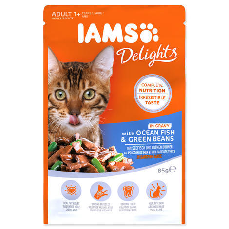 Kapsička IAMS Cat delights ocean fish & green beans in gravy 85g
