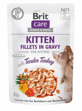 Brit Care Cat Kitten. Fillets in Gravy with Tender Turkey 85 g