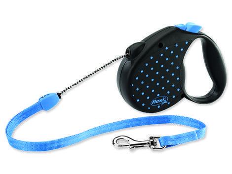 Vodítko FLEXI Color Dots lankové modré  M