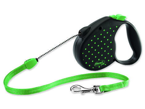 Vodítko FLEXI Color Dots lankové zelené  M
