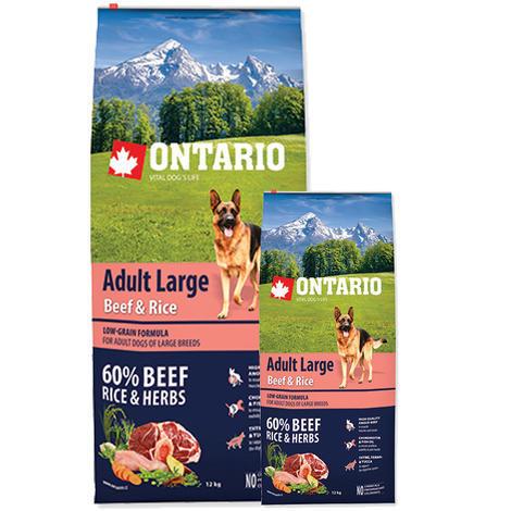 ONTARIO Adult Large Beef & Rice 12kg + 2,25kg ZDARMA + doprava ZDARMA
