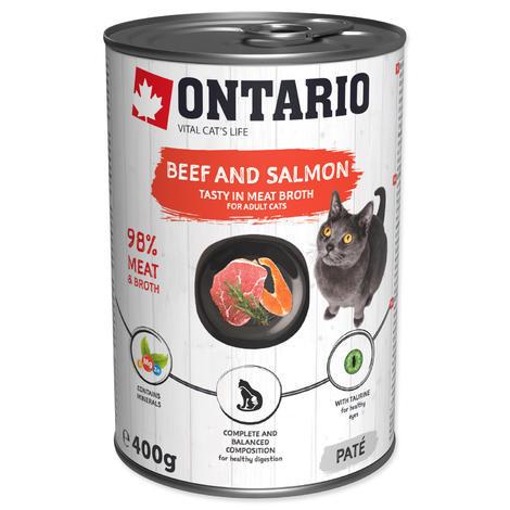 ONTARIO konzerva Beef, Salmon, Sunflower Oil 400g