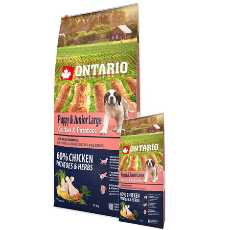 ONTARIO Puppy & Junior Large Chicken & Potatoes & Herbs 12kg + 2,25kg ZDARMA - 1