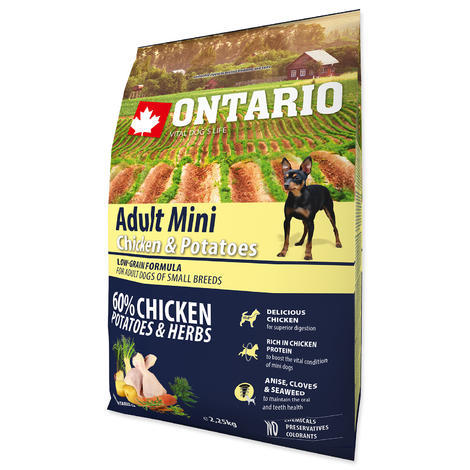 ONTARIO Adult Mini Chicken & Potatoes & Herbs 2,25kg