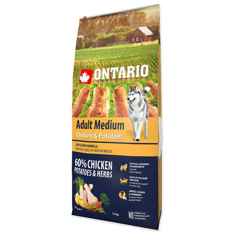 ONTARIO Adult Medium Chicken & Potatoes & Herbs 15+5kg ZDARMA