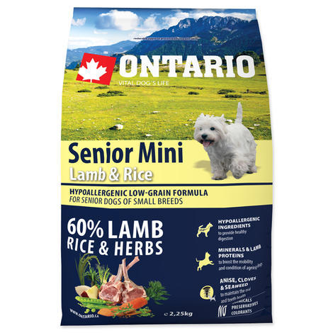 ONTARIO Senior Mini Lamb & Rice 2,25kg