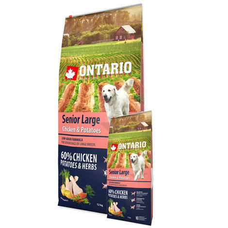 ONTARIO Senior Large Chicken & Potatoes & Herbs 12kg + 2,25kg ZDARMA - 1