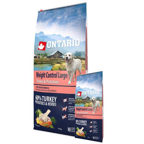 ONTARIO Large Weight Control Turkey & Potatoes & Herbs 12kg + 2,25kg ZDARMA  - 1