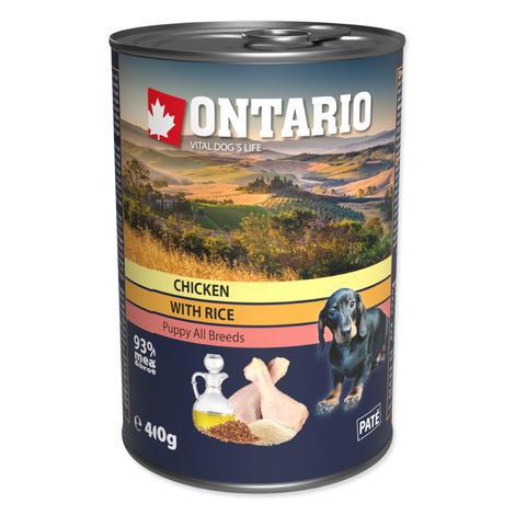 ONTARIO konzerva Puppy Chicken, Rice and Linseed Oil 400g  - 1