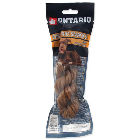 ONTARIO Rawhide Snack Twisted Stick 15 cm 1ks