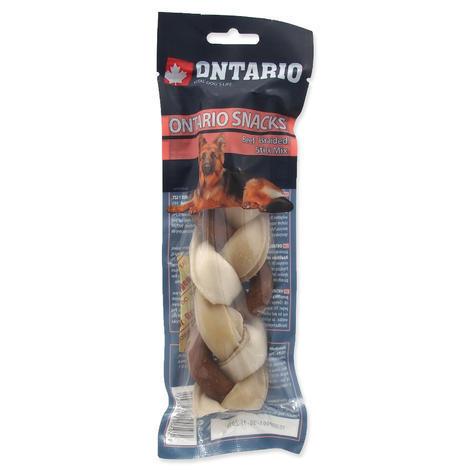 ONTARIO Rawhide Snack Braided Stick Mix 17,5 cm 1ks