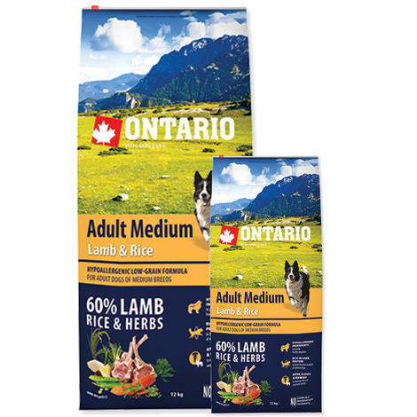 ONTARIO Adult Medium Lamb & Rice 12kg + 2,25kg ZDARMA + doprava ZDARMA
